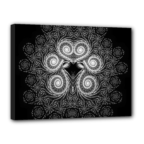 Fractal Filigree Lace Vintage Canvas 16  X 12  by Celenk