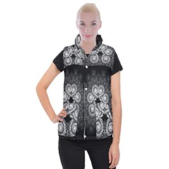 Fractal Filigree Lace Vintage Women s Button Up Puffer Vest