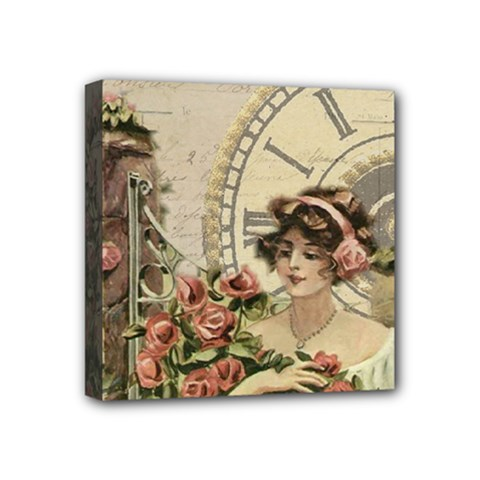 French Vintage Girl Roses Clock Mini Canvas 4  X 4  by Celenk
