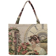 French Vintage Girl Roses Clock Mini Tote Bag by Celenk