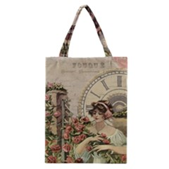 French Vintage Girl Roses Clock Classic Tote Bag by Celenk