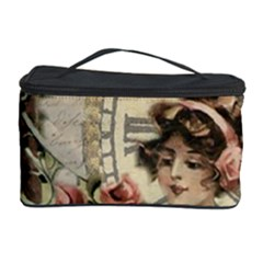 French Vintage Girl Roses Clock Cosmetic Storage Case by Celenk