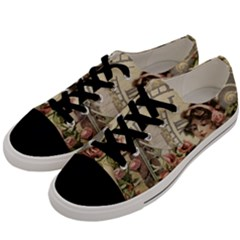 French Vintage Girl Roses Clock Men s Low Top Canvas Sneakers by Celenk