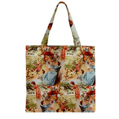 Seamless Vintage Design Zipper Grocery Tote Bag by Celenk