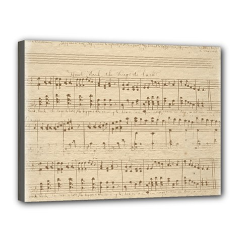 Vintage Beige Music Notes Canvas 16  X 12  by Celenk