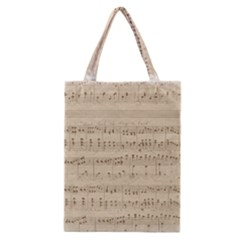 Vintage Beige Music Notes Classic Tote Bag by Celenk