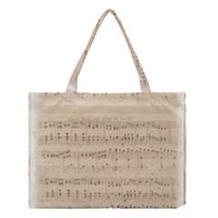 Vintage Beige Music Notes Medium Tote Bag by Celenk