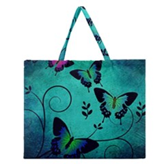 Texture Butterflies Background Zipper Large Tote Bag by Celenk