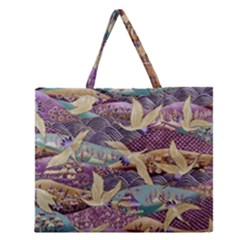 Textile Fabric Cloth Pattern Zipper Large Tote Bag by Celenk