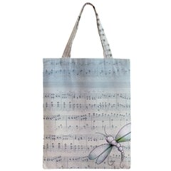 Vintage Blue Music Notes Zipper Classic Tote Bag by Celenk