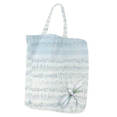 Vintage Blue Music Notes Giant Grocery Zipper Tote by Celenk
