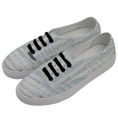Vintage Blue Music Notes Men s Classic Low Top Sneakers by Celenk