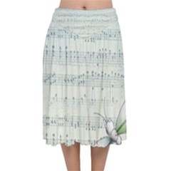 Vintage Blue Music Notes Velvet Flared Midi Skirt