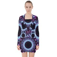 Kaleidoscope Shape Abstract Design V Neck Bodycon Long Sleeve Dress