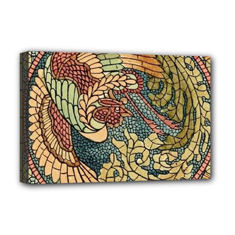 Wings Feathers Cubism Mosaic Deluxe Canvas 18  X 12   by Celenk