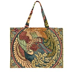 Wings Feathers Cubism Mosaic Zipper Large Tote Bag by Celenk