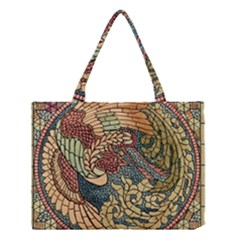 Wings Feathers Cubism Mosaic Medium Tote Bag by Celenk