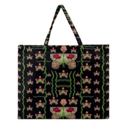 Roses In The Soft Hands Makes A Smile Pop Art Zipper Large Tote Bag by pepitasart
