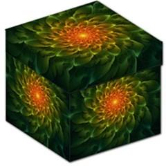 Beautiful Orange Green Desert Cactus Fractalspiral Storage Stool 12   by jayaprime