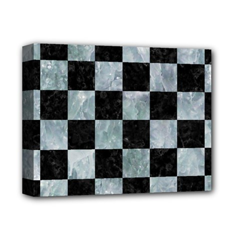 Square1 Black Marble & Ice Crystals Deluxe Canvas 14  X 11  by trendistuff