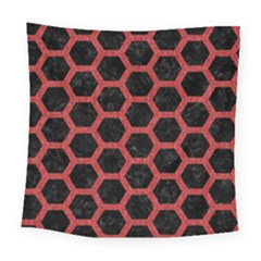 Hexagon2 Black Marble & Red Denim (r) Square Tapestry (large) by trendistuff