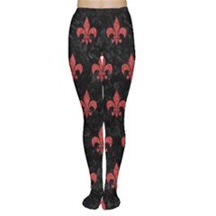 Royal1 Black Marble & Red Denim Women s Tights by trendistuff