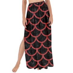 Scales1 Black Marble & Red Denim (r) Maxi Chiffon Tie Up Sarong