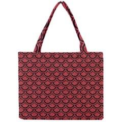 Scales2 Black Marble & Red Denim Mini Tote Bag by trendistuff