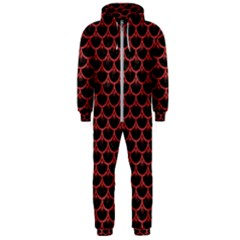Scales3 Black Marble & Red Denim (r) Hooded Jumpsuit (men)