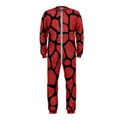Skin1 Black Marble & Red Denim (r) Onepiece Jumpsuit (kids)