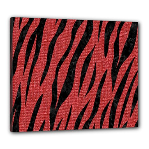 Skin3 Black Marble & Red Denim Canvas 24  X 20