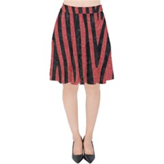 Skin4 Black Marble & Red Denim (r) Velvet High Waist Skirt by trendistuff