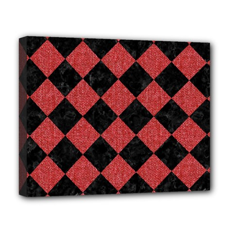 Square2 Black Marble & Red Denim Deluxe Canvas 20  X 16   by trendistuff