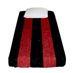 Stripes1 Black Marble & Red Denim Fitted Sheet (single Size) by trendistuff