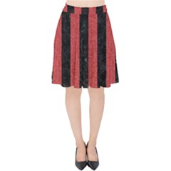 Stripes1 Black Marble & Red Denim Velvet High Waist Skirt by trendistuff