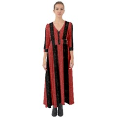 Stripes1 Black Marble & Red Denim Button Up Boho Maxi Dress