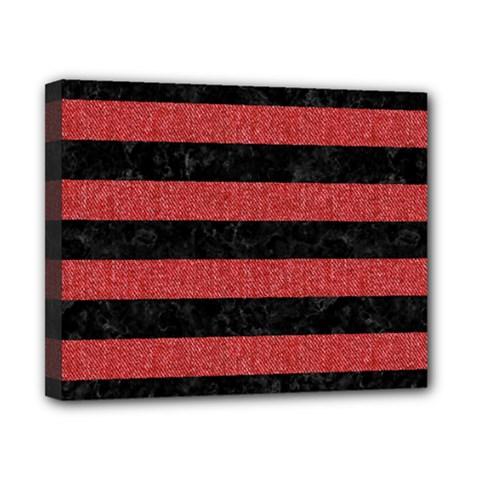 Stripes2 Black Marble & Red Denim Canvas 10  X 8  by trendistuff
