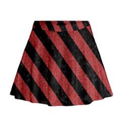 Stripes3 Black Marble & Red Denim Mini Flare Skirt