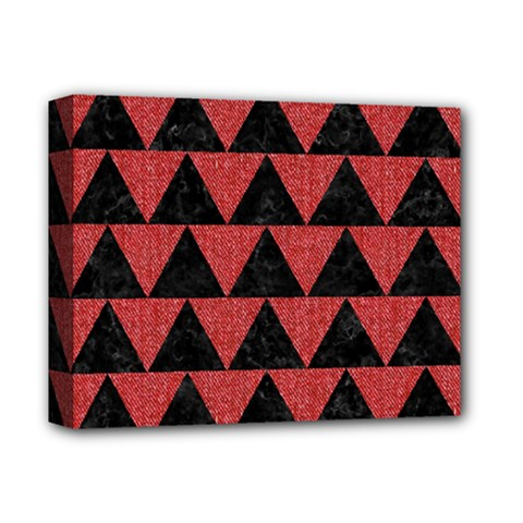 Triangle2 Black Marble & Red Denim Deluxe Canvas 14  X 11  by trendistuff
