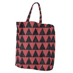 Triangle2 Black Marble & Red Denim Giant Grocery Zipper Tote by trendistuff
