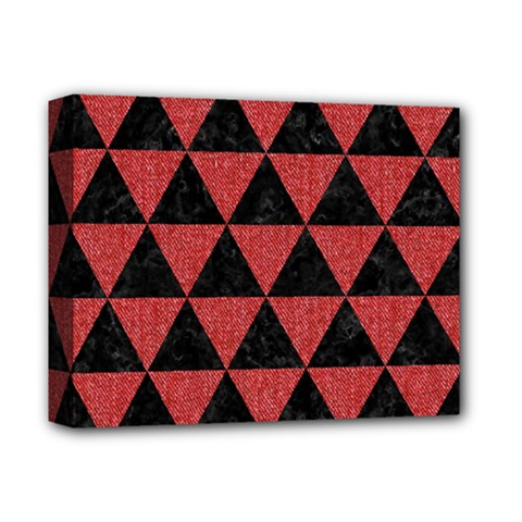 Triangle3 Black Marble & Red Denim Deluxe Canvas 14  X 11  by trendistuff