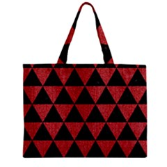 Triangle3 Black Marble & Red Denim Zipper Mini Tote Bag by trendistuff