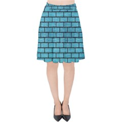 Brick1 Black Marble & Teal Brushed Metal Velvet High Waist Skirt by trendistuff