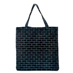Brick1 Black Marble & Teal Brushed Metal (r) Grocery Tote Bag by trendistuff