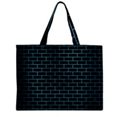 Brick1 Black Marble & Teal Brushed Metal (r) Zipper Mini Tote Bag by trendistuff