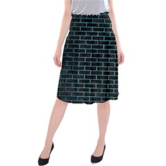 Brick1 Black Marble & Teal Brushed Metal (r) Midi Beach Skirt by trendistuff