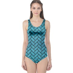 Brick2 Black Marble & Teal Brushed Metal One Piece Swimsuit