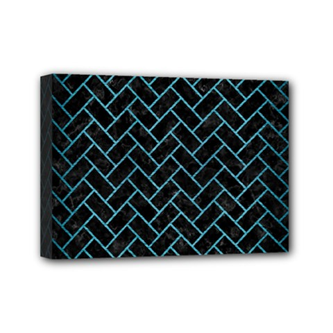 Brick2 Black Marble & Teal Brushed Metal (r) Mini Canvas 7  X 5  by trendistuff