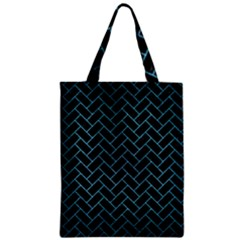 Brick2 Black Marble & Teal Brushed Metal (r) Zipper Classic Tote Bag by trendistuff