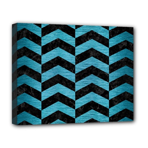 Chevron2 Black Marble & Teal Brushed Metal Deluxe Canvas 20  X 16